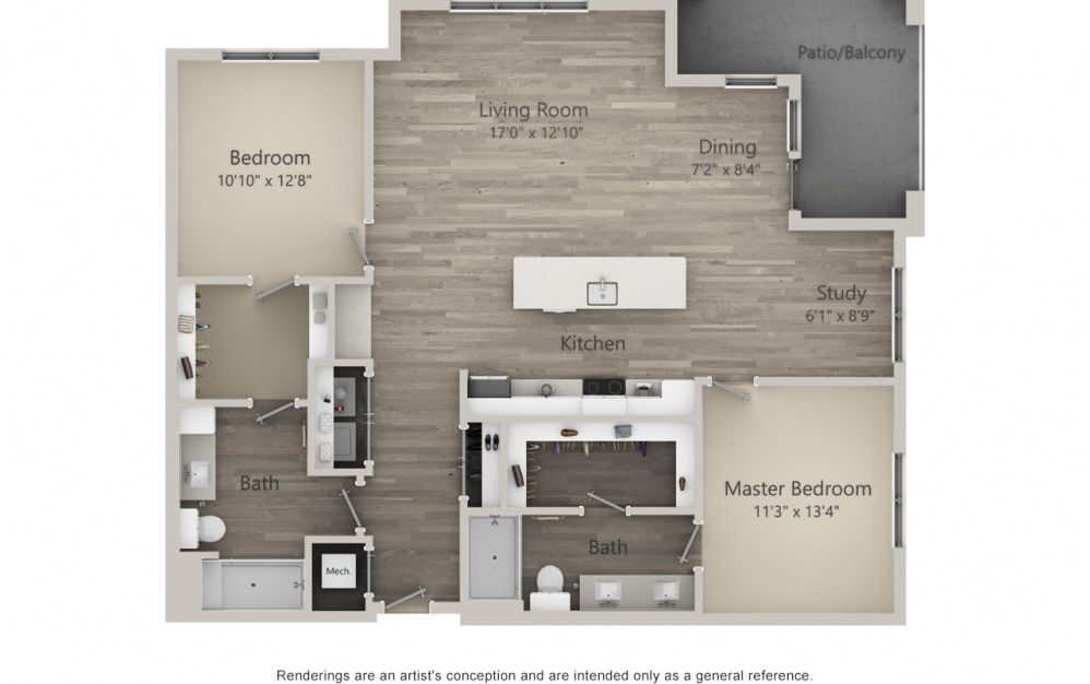 Burlington  - 2 bedroom floorplan layout with 2 baths and 1358 square feet. (2D)
