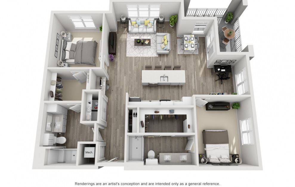 Burlington  - 2 bedroom floorplan layout with 2 baths and 1358 square feet. (3D)