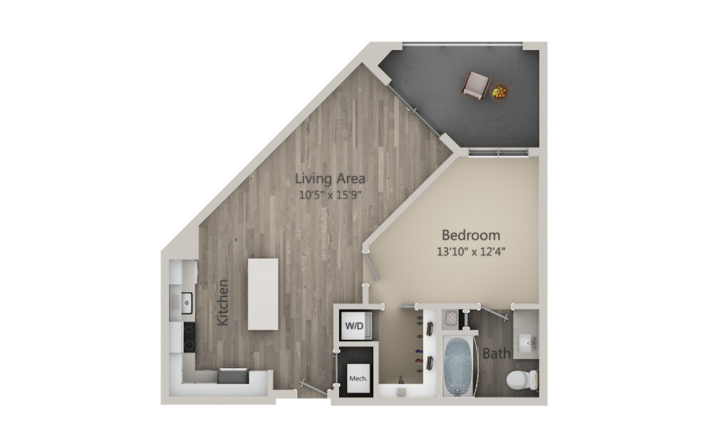 Abbey - 1 bedroom floorplan layout with 1 bath and 701 square feet. (2D)