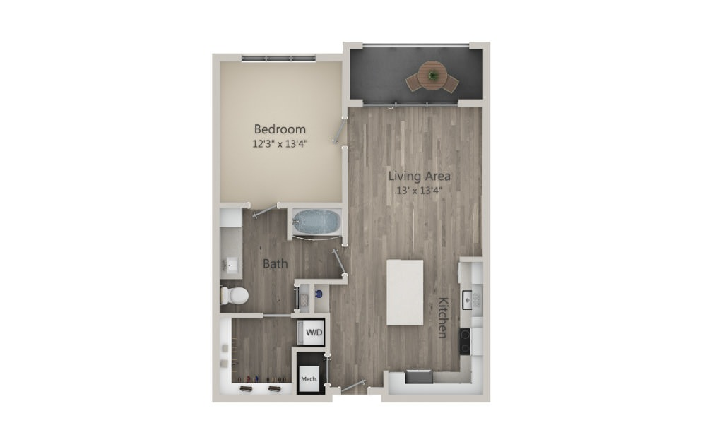 Avondale - 1 bedroom floorplan layout with 1 bath and 791 square feet. (2D)