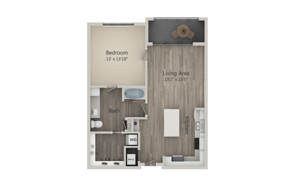Addison - 1 bedroom floorplan layout with 1 bath and 824 square feet. (2D)
