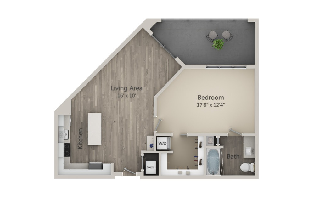 Alexandria - 1 bedroom floorplan layout with 1 bath and 841 square feet. (2D)