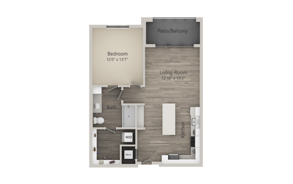 Alexandra  - 1 bedroom floorplan layout with 1 bath and 786 square feet. (2D)