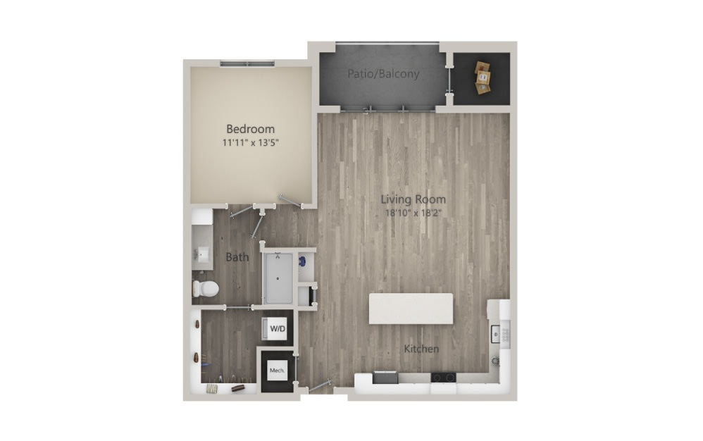 Admiral  - 1 bedroom floorplan layout with 1 bath and 960 square feet. (2D)