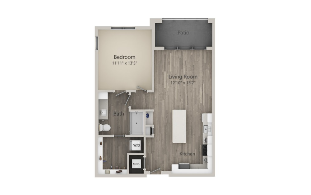 Adelaide  - 1 bedroom floorplan layout with 1 bath and 786 square feet. (2D)