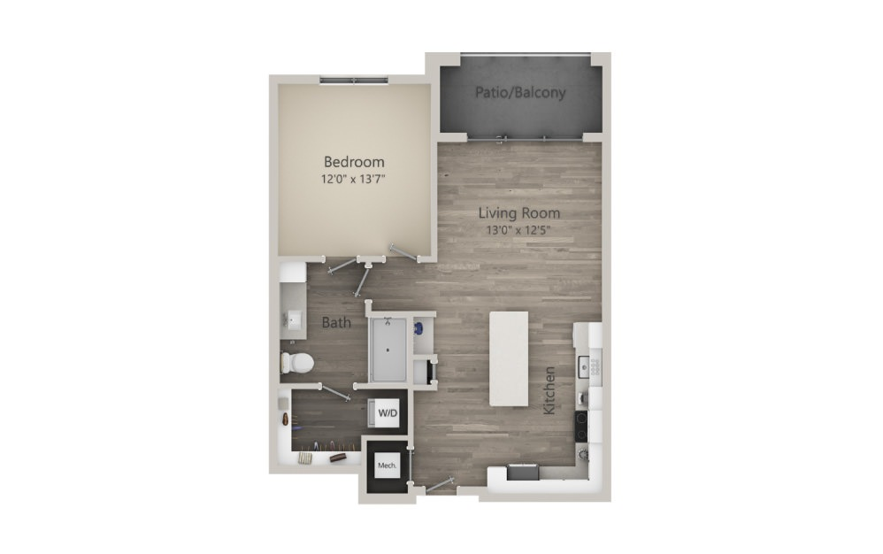 Atwood  - 1 bedroom floorplan layout with 1 bath and 771 square feet. (2D)