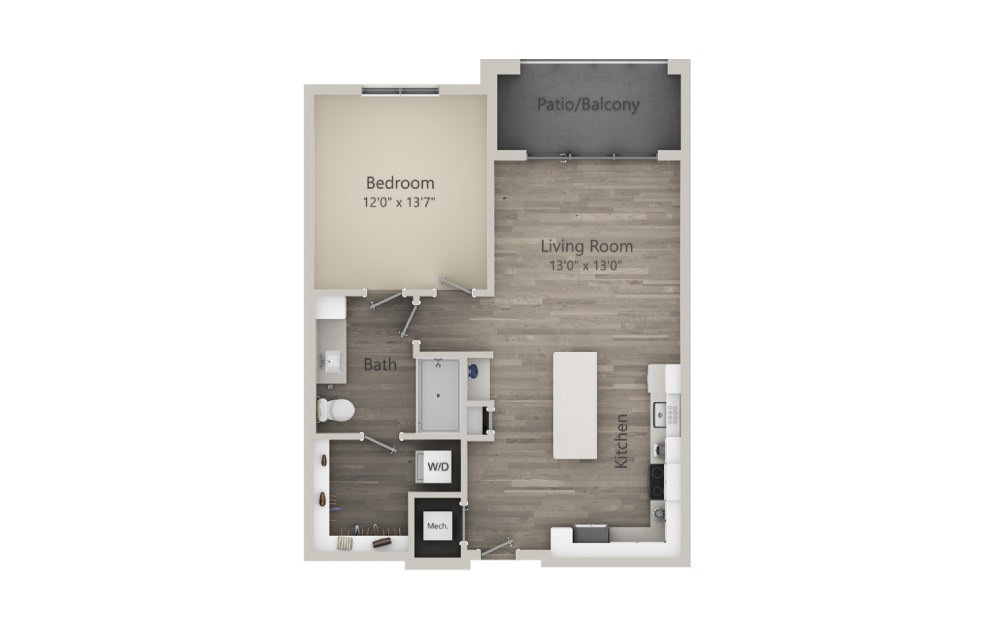 Archer  - 1 bedroom floorplan layout with 1 bath and 781 square feet. (2D)