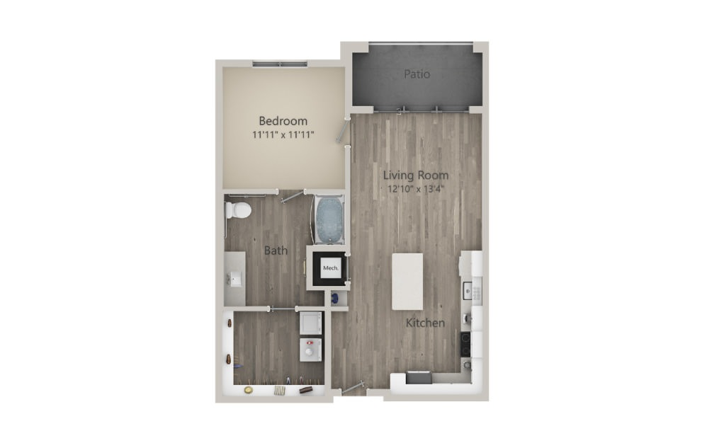 Abbot - 1 bedroom floorplan layout with 1 bath and 786 square feet. (2D)