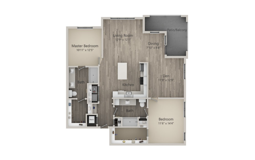 Bridgewater - 2 bedroom floorplan layout with 2 baths and 1361 square feet. (2D)