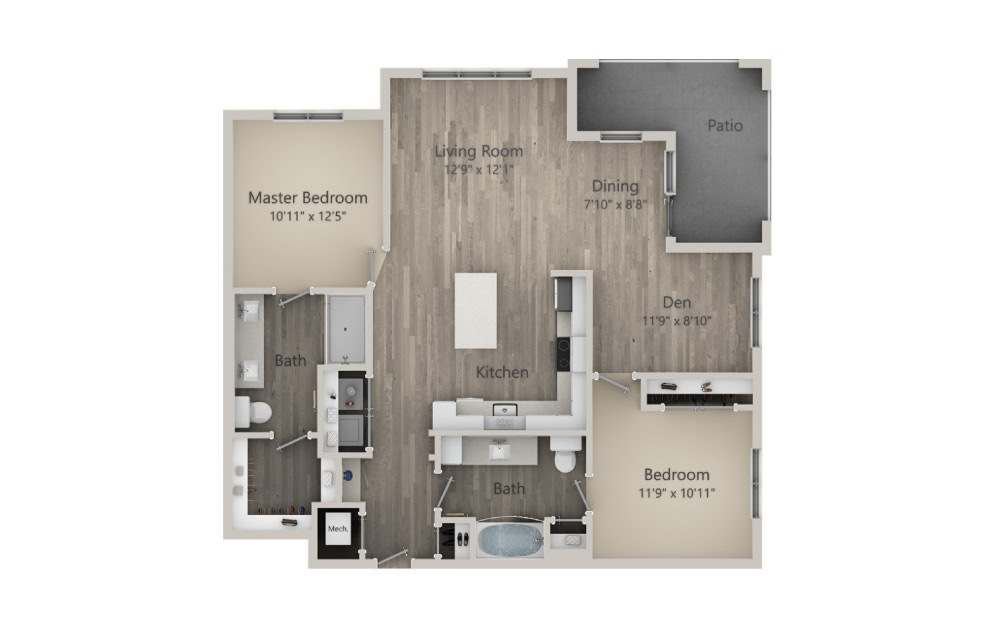 Bedford  - 2 bedroom floorplan layout with 2 baths and 1220 square feet. (2D)