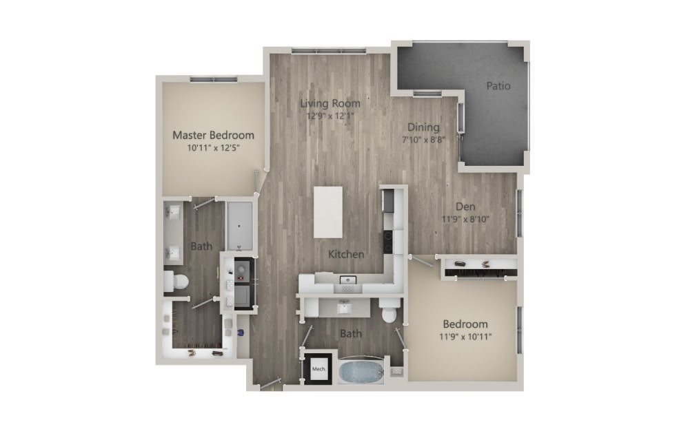 Berkley  - 2 bedroom floorplan layout with 2 baths and 1206 square feet. (2D)