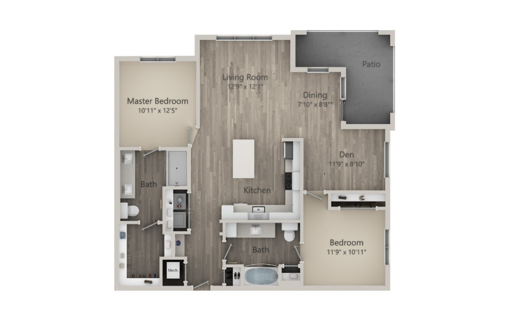 Brighton - 2 bedroom floorplan layout with 2 baths and 1243 square feet. (2D)