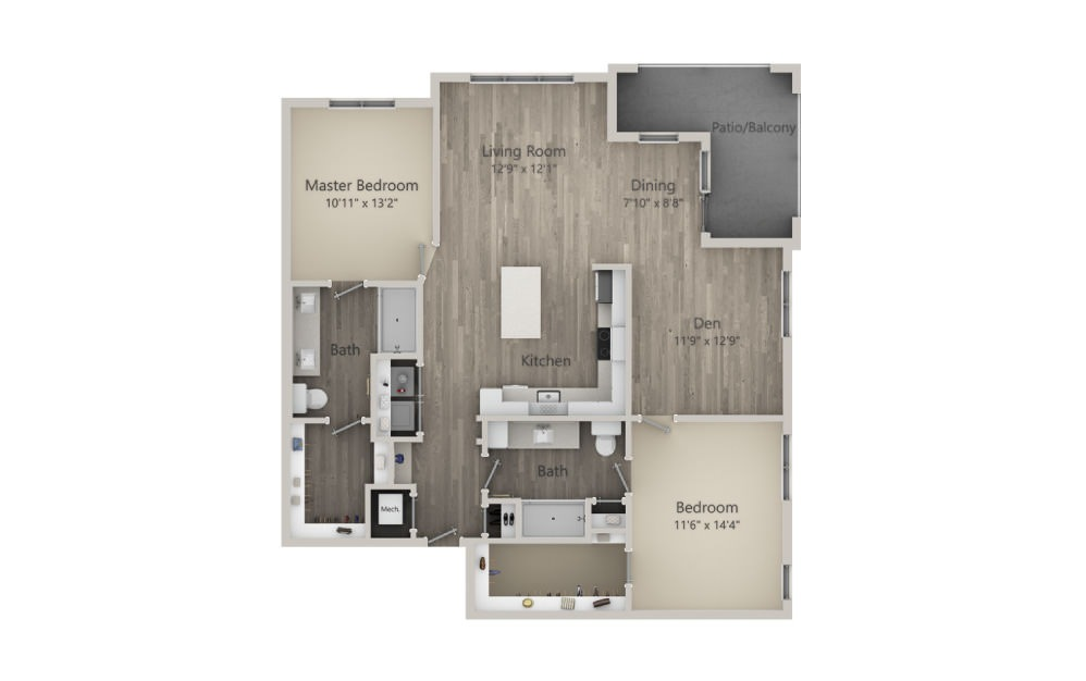 Bayswater - 2 bedroom floorplan layout with 2 baths and 1367 square feet. (2D)