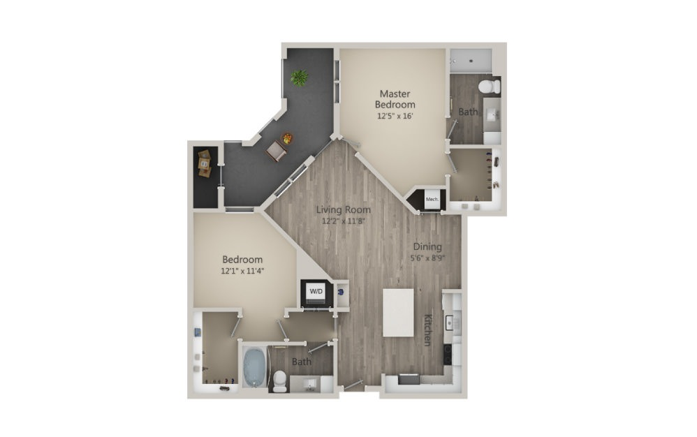 Brookland - 2 bedroom floorplan layout with 2 baths and 1143 square feet. (2D)