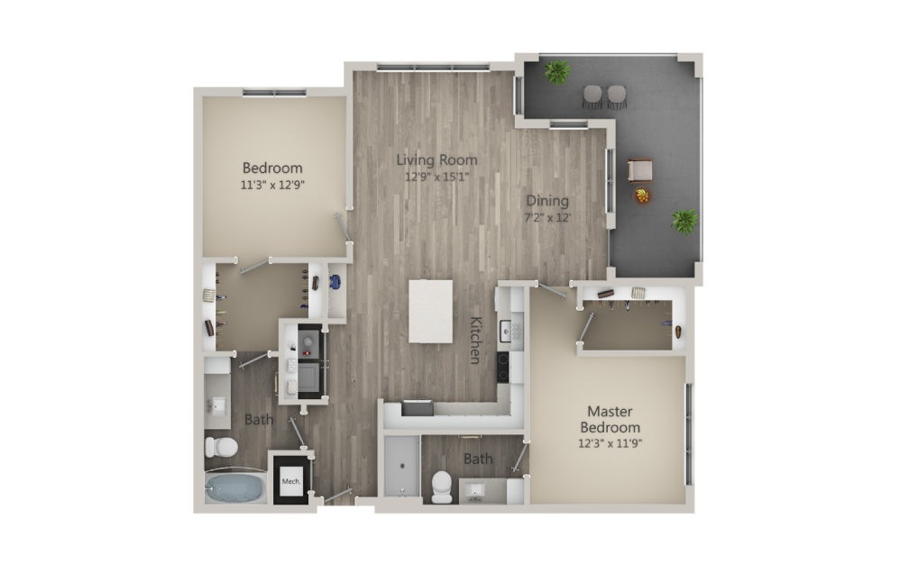 Browning - 2 bedroom floorplan layout with 2 baths and 1186 square feet. (2D)