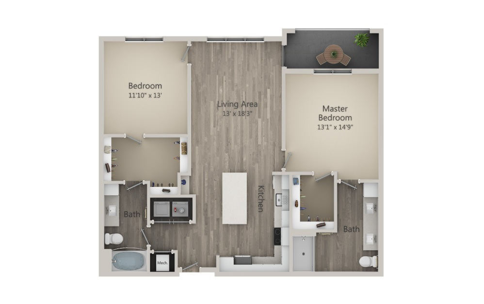 Butler  - 2 bedroom floorplan layout with 2 baths and 1215 square feet. (2D)