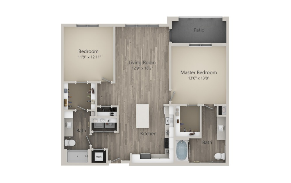 Brewer  - 2 bedroom floorplan layout with 2 baths and 1215 square feet. (2D)