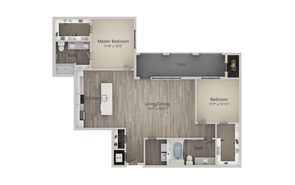 Brunswick - 2 bedroom floorplan layout with 2 baths and 1362 square feet. (2D)