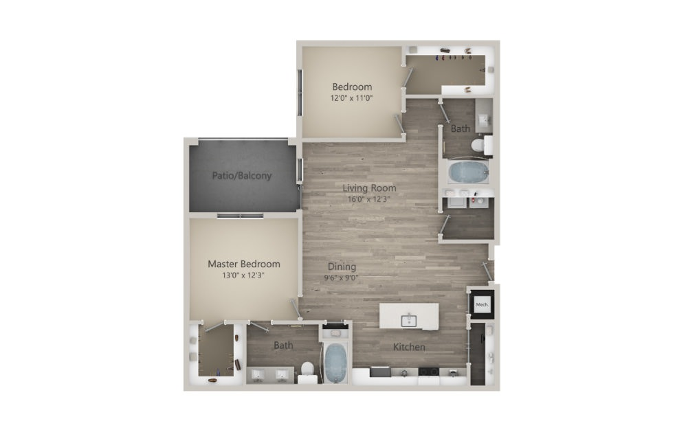Byron - 2 bedroom floorplan layout with 2 baths and 1231 square feet. (2D)