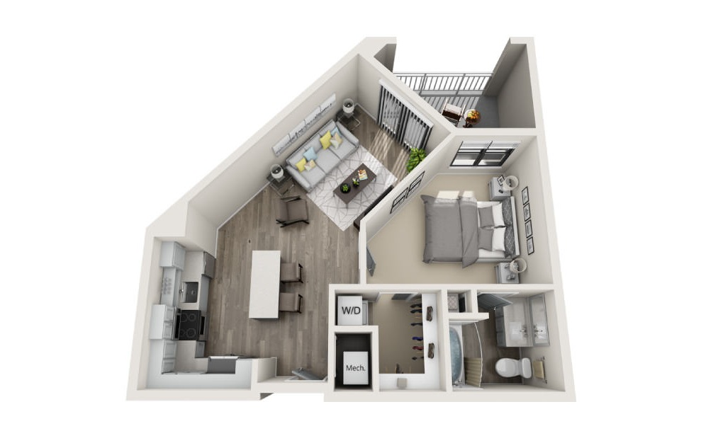 Abbey - 1 bedroom floorplan layout with 1 bath and 701 square feet. (3D)