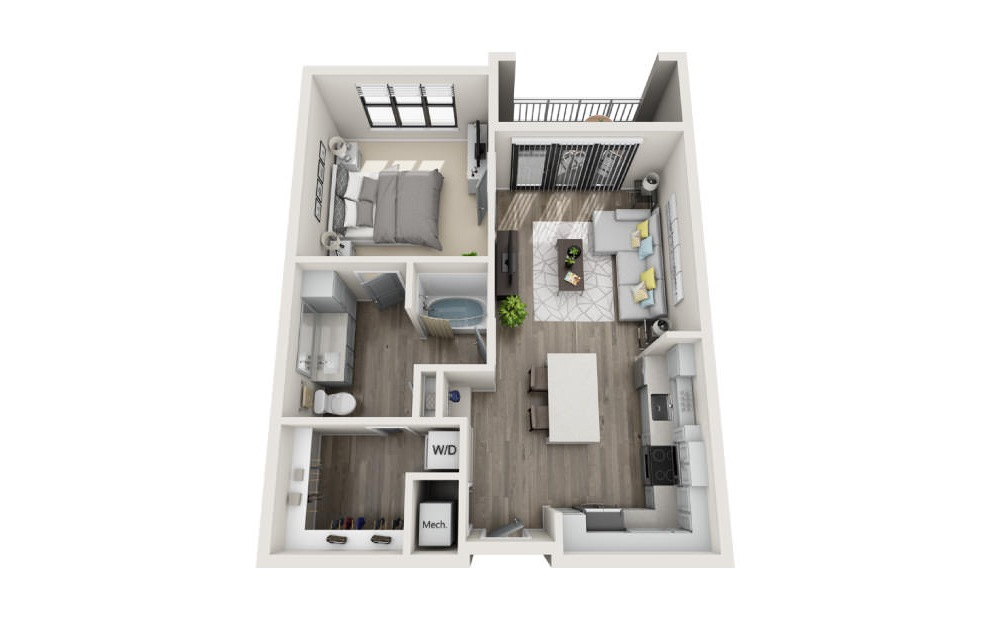 Avondale - 1 bedroom floorplan layout with 1 bath and 791 square feet. (3D)