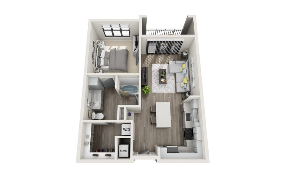 Addison - 1 bedroom floorplan layout with 1 bath and 824 square feet. (3D)