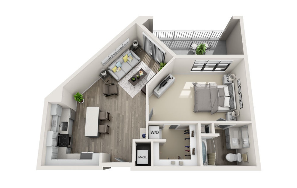 Alexandria - 1 bedroom floorplan layout with 1 bath and 841 square feet. (3D)