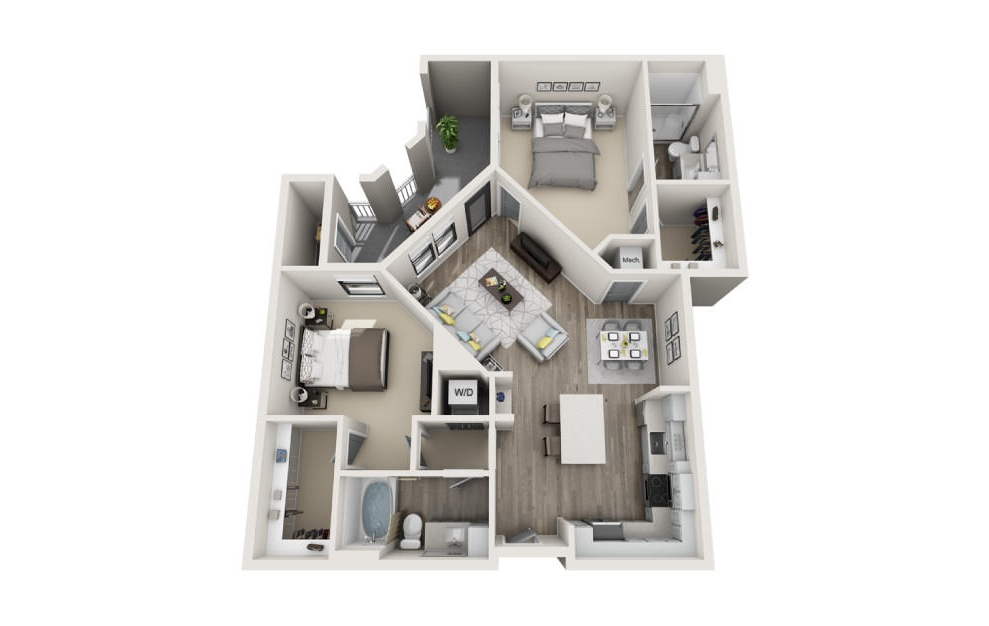 Brookland - 2 bedroom floorplan layout with 2 baths and 1143 square feet. (3D)