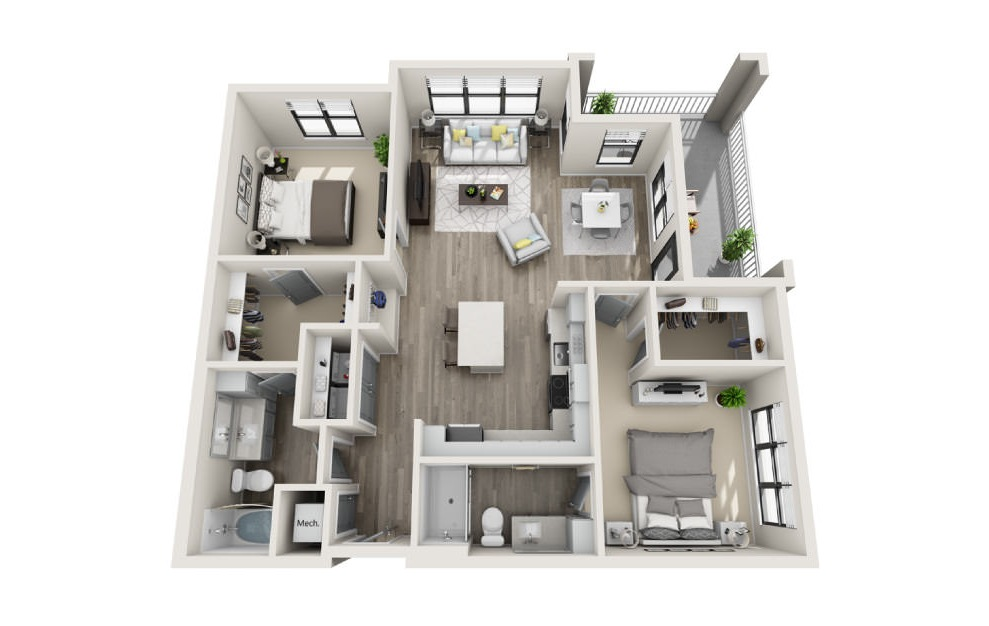 Browning - 2 bedroom floorplan layout with 2 baths and 1186 square feet. (3D)