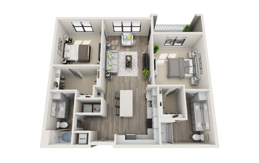 Burberry - 2 bedroom floorplan layout with 2 baths and 1217 square feet. (3D)