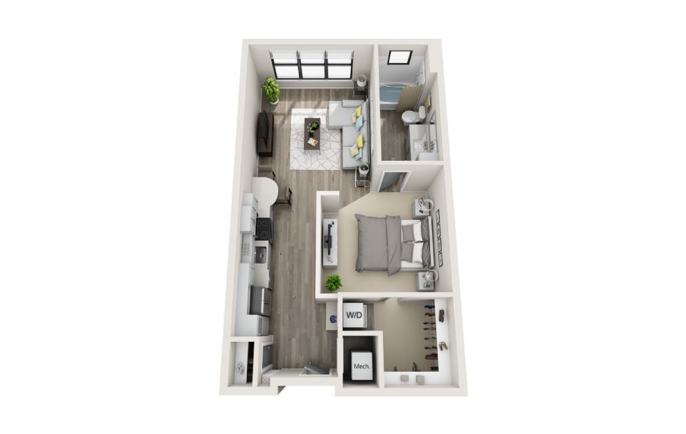 Sinclair - Studio floorplan layout with 1 bath and 635 square feet. (3D)
