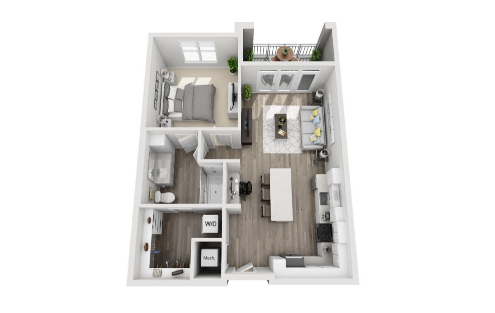 Alexandra  - 1 bedroom floorplan layout with 1 bath and 786 square feet. (3D)