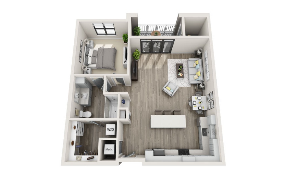 Admiral  - 1 bedroom floorplan layout with 1 bath and 960 square feet. (3D)