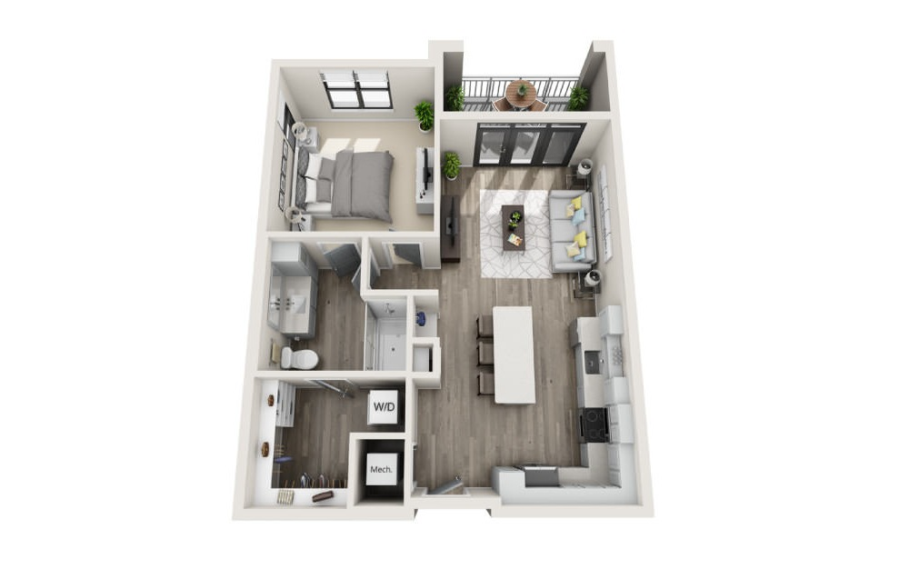 Adelaide  - 1 bedroom floorplan layout with 1 bath and 786 square feet. (3D)