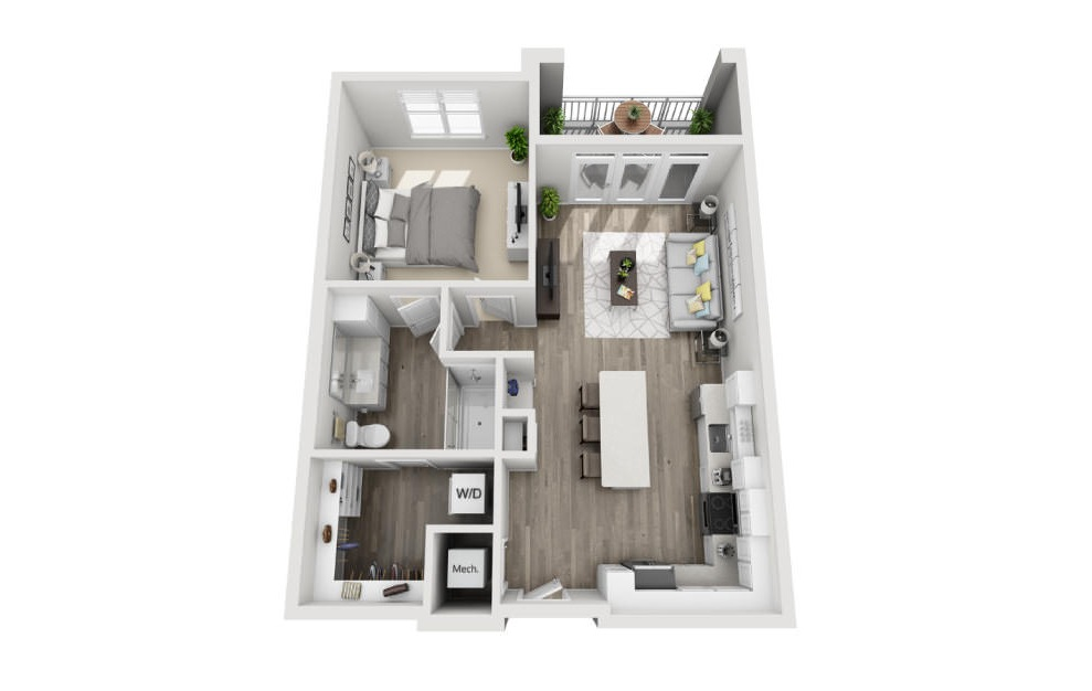 Archer  - 1 bedroom floorplan layout with 1 bath and 781 square feet. (3D)