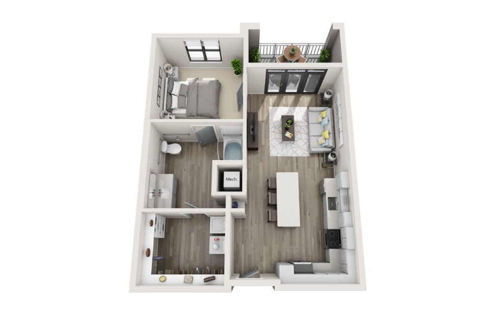 Abbot - 1 bedroom floorplan layout with 1 bath and 786 square feet. (3D)
