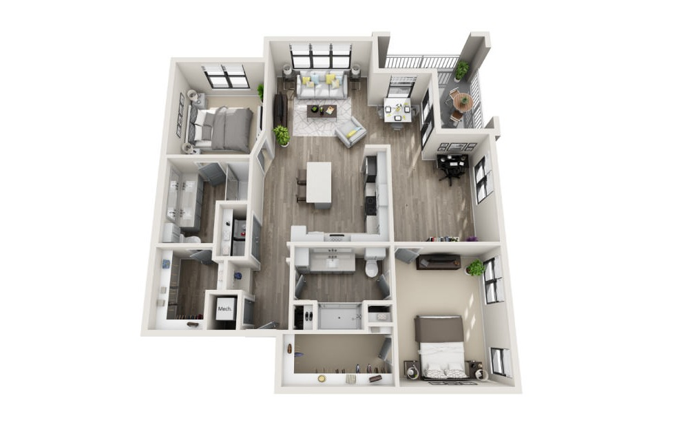 Britannia - 2 bedroom floorplan layout with 2 baths and 1378 square feet. (3D)