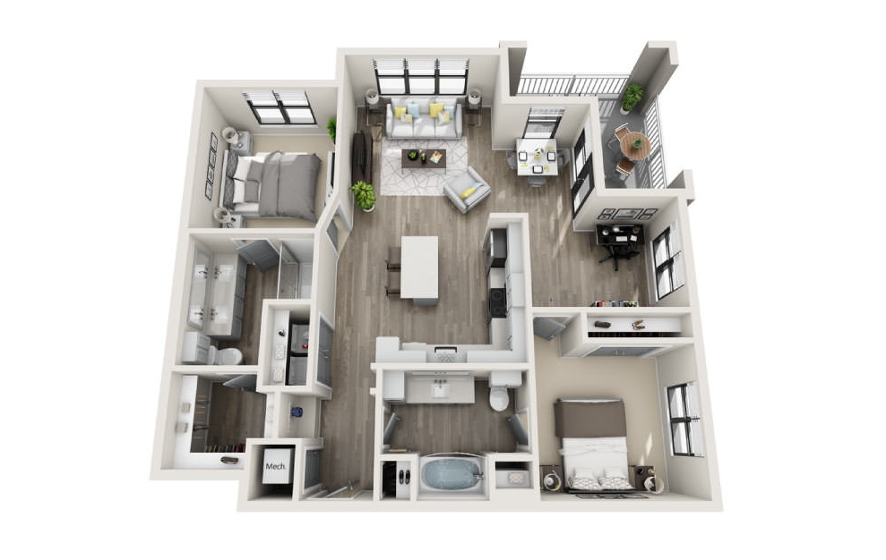 Bedford  - 2 bedroom floorplan layout with 2 baths and 1220 square feet. (3D)