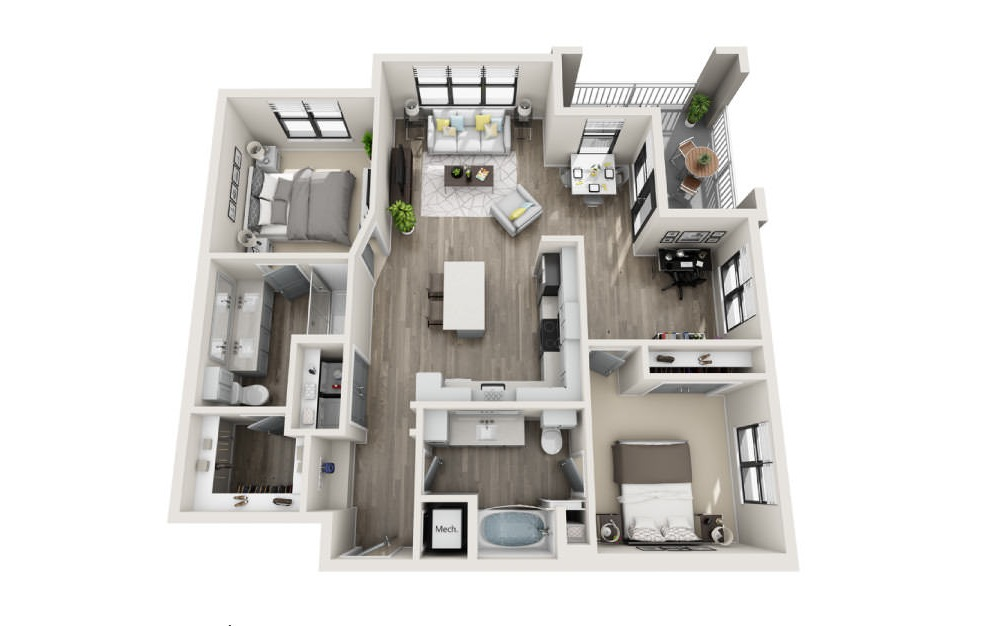 Berkley  - 2 bedroom floorplan layout with 2 baths and 1206 square feet. (3D)