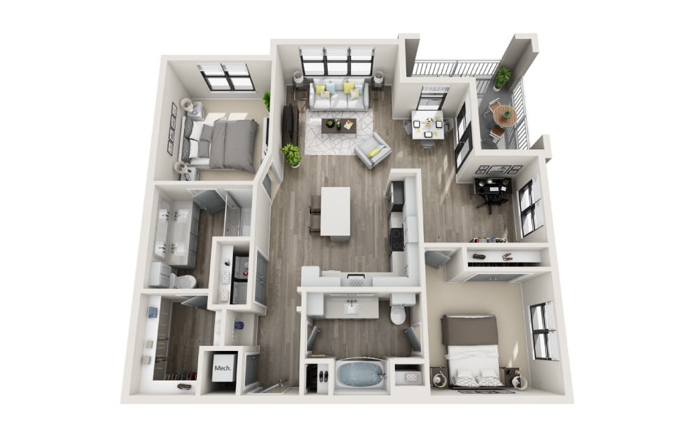 Brighton - 2 bedroom floorplan layout with 2 baths and 1243 square feet. (3D)
