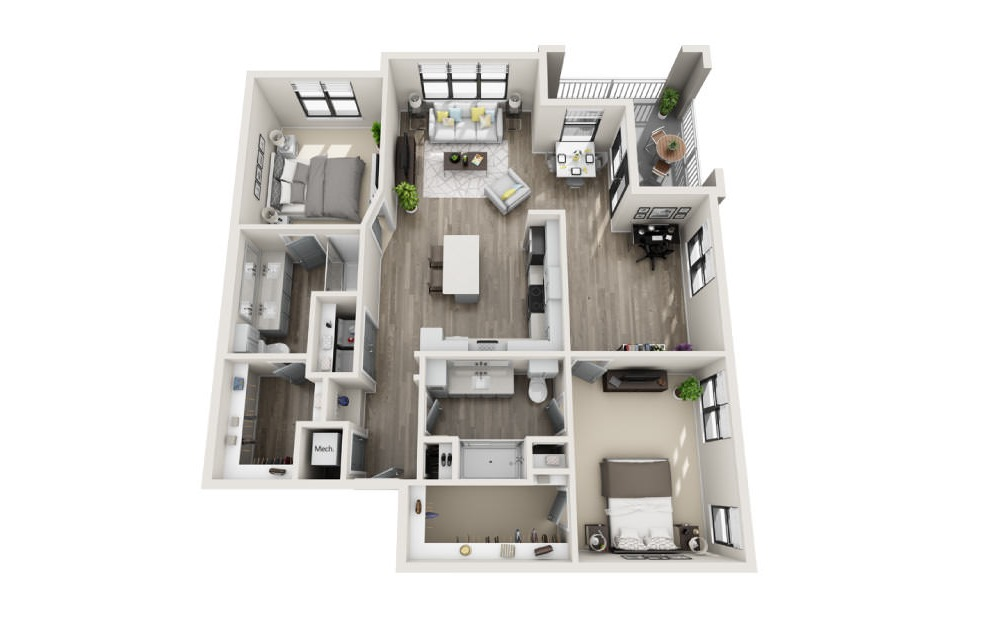 Bayswater - 2 bedroom floorplan layout with 2 baths and 1367 square feet. (3D)
