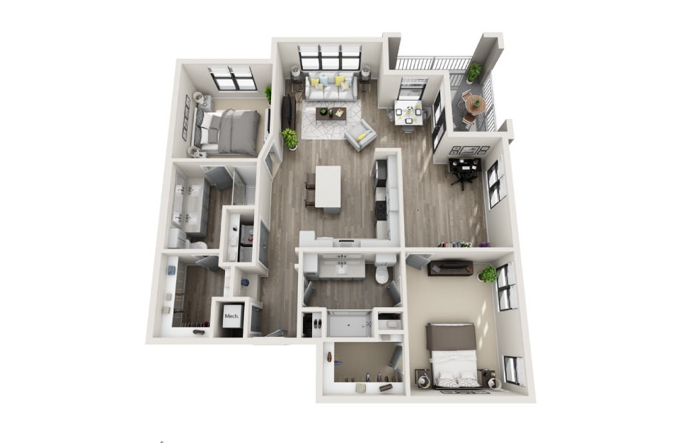 Bridgewater - 2 bedroom floorplan layout with 2 baths and 1361 square feet. (3D)