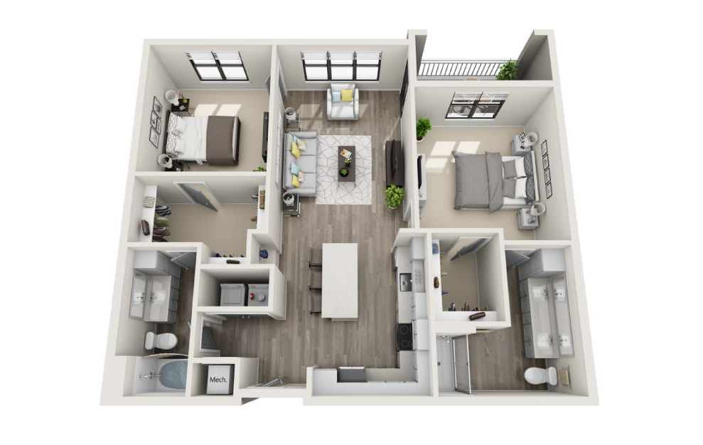 Butler  - 2 bedroom floorplan layout with 2 baths and 1215 square feet. (3D)