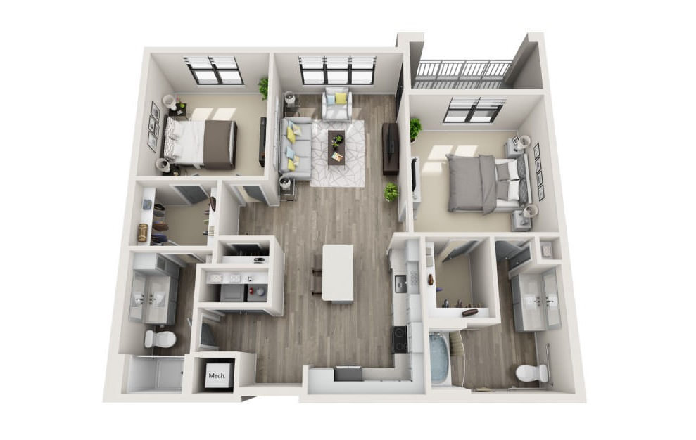 Brewer  - 2 bedroom floorplan layout with 2 baths and 1215 square feet. (3D)