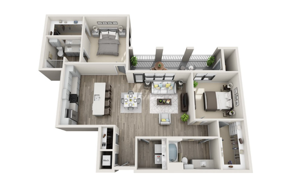 Brunswick - 2 bedroom floorplan layout with 2 baths and 1362 square feet. (3D)
