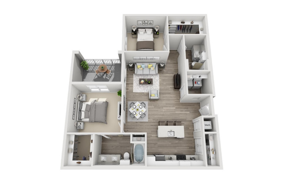 Byron - 2 bedroom floorplan layout with 2 baths and 1231 square feet. (3D)