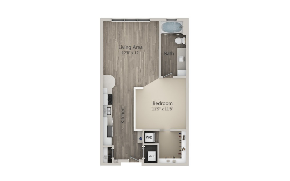 Sinclair - Studio floorplan layout with 1 bath and 635 square feet. (2D)