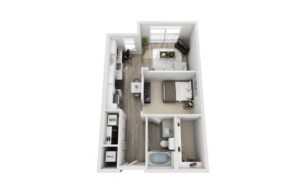 Stafford - Studio floorplan layout with 1 bath and 653 square feet. (3D)