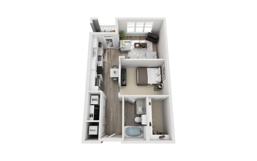 Susex - Studio floorplan layout with 1 bath and 643 square feet.