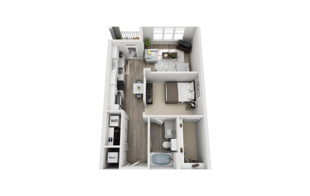 Susex - Studio floorplan layout with 1 bath and 643 square feet. (3D)